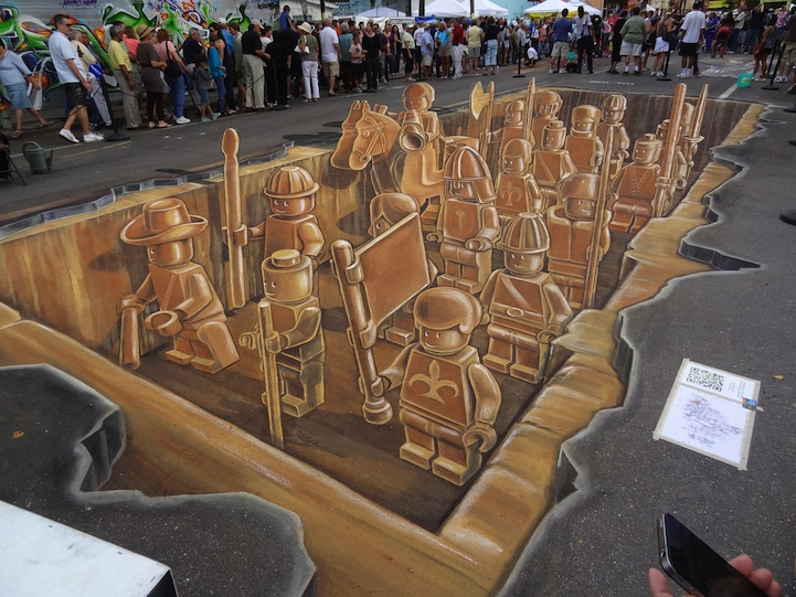 Sarasota Chalk Festival: 3D Lego Terracotta Warriors