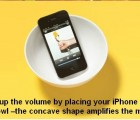 Pump up the volme by placing your iPhone / iPod in a bowl - the concave shape amplifies the music.